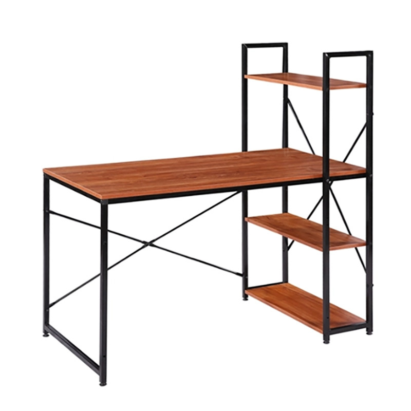 Modern Style Wooden Table With Bookshelf